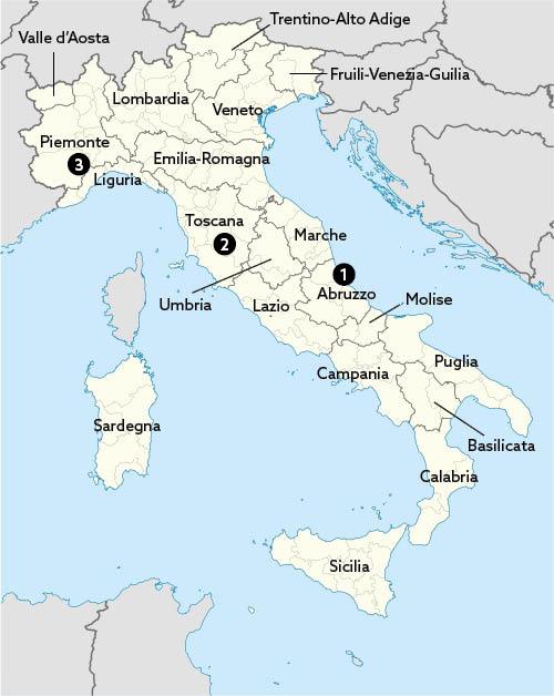 Carte des régions viticoles Italie