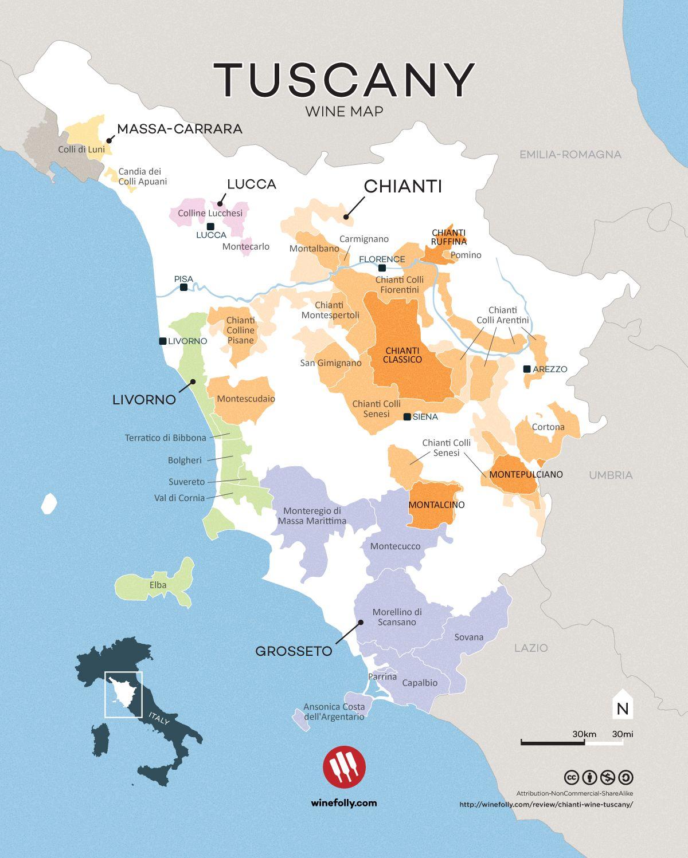 Appellations vins Toscane